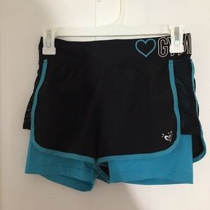 Double Layer Blue & Black Gymnast Shorts - Justice